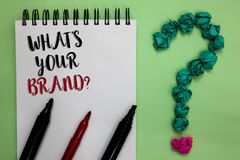 Conceptual hand writing showing What s is Your Brand question. Business photo showcasing Define Individual trademark Identify Comp. Any Sticky note with texts stock image