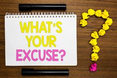 Conceptual hand writing showing What s is Your Excuse question. Business photo showcasing Explanations for not doing something Inq. Uiry White page with bright stock photos