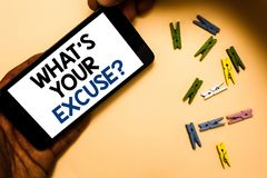 Conceptual hand writing showing What s is Your Excuse question. Business photo text Explanations for not doing something Inquiry H. And holding phone with royalty free stock photo