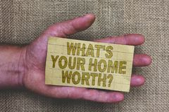 Conceptual hand writing showing What s is Your Home Worth question. Business photo showcasing Value of a house Property Cost Price. Rate Thick gray paper with royalty free stock images