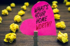 Conceptual hand writing showing What s is Your Home Worth question. Business photo text Value of a house Property Cost Price Rate. Paperclip hold pink written royalty free stock photos