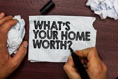 Conceptual hand writing showing What s is Your Home Worth question. Business photo text Value of a house Property Cost Price Rate. Hand hold pen sketch word on stock photography