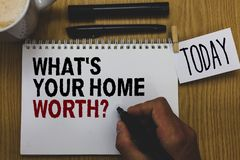 Conceptual hand writing showing What s is Your Home Worth question. Business photo text Value of a house Property Cost Price Rate. Written on paper hand hold royalty free stock photo