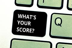 Conceptual hand writing showing What S Is Your Scorequestion. Business photo showcasing asking about the real facts of a. Situation Keyboard key Intention to stock photos