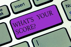 Conceptual hand writing showing What S Your Scorequestion. Business photo showcasing Tell Personal Individual Rating. Average Results Keyboard key Intention to royalty free stock image