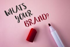Conceptual hand writing showing What Is Your Brand Question. Business photo showcasing Define Individual trademark Identify Compan. Y written Plain Pink royalty free stock photography