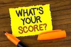 Conceptual hand writing showing What Is Your Score Question. Business photo showcasing Tell Personal Individual Rating Average Res Stock Images