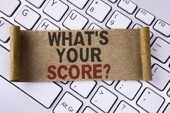 Conceptual hand writing showing What Is Your Score Question. Business photo showcasing Tell Personal Individual Rating Average Res stock image