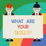 Conceptual hand writing showing What Are Your Skillsquestion. Business photo text Tell us your abilities knowledge experience Male. And Female in Uniform royalty free illustration
