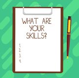 Conceptual hand writing showing What Are Your Skillsquestion. Business photo text Tell us your abilities knowledge experience. Sheet of Bond Paper on Clipboard vector illustration