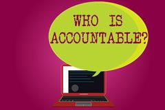 Conceptual hand writing showing Who Is Accountablequestion. Business photo text To be responsible or answerable for. Something Certificate Layout on Laptop vector illustration