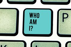 Conceptual hand writing showing Who Am Iquestion. Business photo text Selfconsciousness own demonstratingality identity. Conceptual hand writing showing Who Am stock images