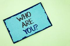 Conceptual hand writing showing Who Are You Question. Business photo text Introduce or Identify Yourself Tell your Personal Story. Written Sticky Note Paper Stock Images