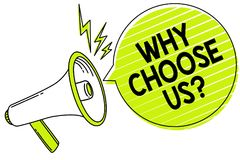 Conceptual hand writing showing Why Choose Us question. Business photo text Reasons for choosing our brand over others arguments M. Egaphone loudspeaker yellow royalty free illustration