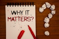 Conceptual hand writing showing Why It Matters Question. Business photo showcasing Important Reasons to do something Motivation Go. Al Ideas on notebook wooden Royalty Free Stock Photos