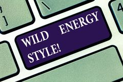 Conceptual hand writing showing Wild Energy Style. Business photo text made near from technologies impose no threat to stock images