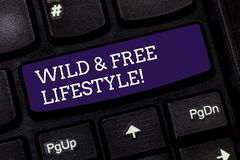 Conceptual hand writing showing Wild And Free Lifestyle. Business photo text Freedom natural way of living outdoor. Activities Keyboard key Intention to create royalty free stock photography