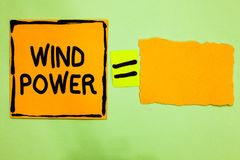Conceptual hand writing showing Wind Power. Business photo text use of air flowto provide mechanical power to turn generators Oran royalty free illustration