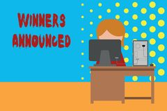 Conceptual hand writing showing Winners Announced. Business photo showcasing Announcing who won the contest or any. Conceptual hand writing showing Winners royalty free illustration