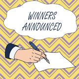 Conceptual hand writing showing Winners Announced. Business photo text Announcing who won the contest or any competition. Conceptual hand writing showing Winners stock illustration