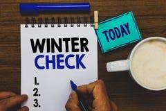 Conceptual hand writing showing Winter Check. Business photo text Coldest Season Maintenance Preparedness Snow Shovel Hiemal Man h stock images