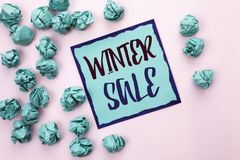 Conceptual hand writing showing Winter Sale. Business photo text Promotion Offer Shop Discount Season Offers Auction Deal Objectiv. E written Sticky Note Paper Royalty Free Stock Photos