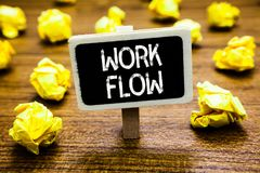 Conceptual hand writing showing Work Flow. Business photo showcasing Continuity of a certain task to and from an office or employe. R Blackboard crumpled paper royalty free stock images
