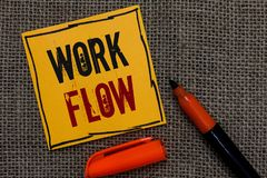 Conceptual hand writing showing Work Flow. Business photo showcasing Continuity of a certain task to and from an office or employe. R Orange paper Marker royalty free stock photo