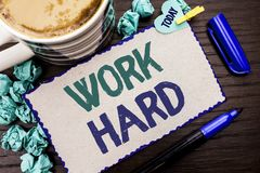 Conceptual hand writing showing Work Hard. Business photo showcasing Struggle Success Effort Ambition Motivation Achievement Actio. N written Cardboard Piece royalty free stock photos