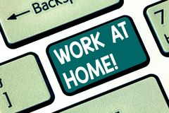 Conceptual hand writing showing Work At Home. Business photo text Freelance job working on your house convenient. Technology Keyboard key Intention to create stock photography