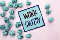 Conceptual hand writing showing Work Safety. Business photo text Caution Security Regulations Protection Assurance Safeness writte. N Sticky Note Paper the light Royalty Free Stock Photo