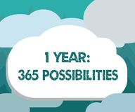 Conceptual hand writing showing 1 Year 365 Possibilities. Business photo showcasing Beginning of a New Day Lots of Chances to Star. T royalty free illustration