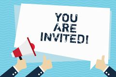 Conceptual hand writing showing You Are Invited. Business photo text Receiving and invitation for an event Join us to