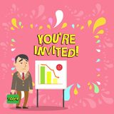 Conceptual hand writing showing You Re Invited. Business photo showcasing You are happily encouraged to attend and event. Conceptual hand writing showing You Re stock illustration
