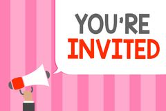 Conceptual hand writing showing You re are Invited. Business photo showcasing Please join us in our celebration Welcome Be a guest. Man holding megaphone royalty free illustration