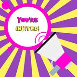 Conceptual hand writing showing You Re Invited. Business photo text You are happily encouraged to attend and event or a. Conceptual hand writing showing You Re royalty free illustration