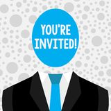Conceptual hand writing showing You Re Invited. Business photo text You are happily encouraged to attend and event or a. Conceptual hand writing showing You Re stock illustration