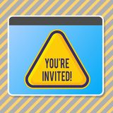 Conceptual hand writing showing You Re Invited. Business photo text make a polite friendly request to someone go. Conceptual hand writing showing You Re Invited stock illustration
