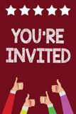 Conceptual hand writing showing You re are Invited. Business photo text Please join us in our celebration Welcome Be a guest Men w. Omen hands thumbs up approval royalty free illustration