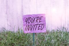 Conceptual hand writing showing You Re Invited. Business photo text Please join us in our celebration Welcome Be a guest