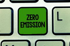 Conceptual hand writing showing Zero Emission. Business photo showcasing No harmful gas release to atmosphere Conserve. The environment royalty free stock photography