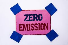 Conceptual hand writing showing Zero Emission. Business photo text Engine Motor Energy Source that emits no waste products written. Pink Sticky Note Paper the Royalty Free Stock Photo