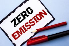 Conceptual hand writing showing Zero Emission. Business photo text Engine Motor Energy Source that emits no waste products written. White Sticky Note Paper the Stock Images
