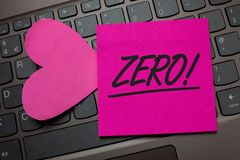Conceptual hand writing showing Zero Motivational Call. Business photo text The emptiness nothingness of something no value Keyboa. Rd grey keys pink paper love Stock Image