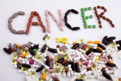 Conceptual Hand writing text caption inspiration Medical care Health concept written with pills drugs capsule word Cancer On white. Background with space royalty free stock photo