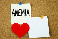 Conceptual hand writing text caption inspiration showing Anemia concept for Medical Diagnosis Iron deficiency aplastic and Love wr Stock Photos