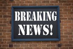 Conceptual hand writing text caption inspiration showing announcement Breaking News. Business concept for Newspaper Breaking News Stock Photo