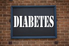 Conceptual hand writing text caption inspiration showing announcement Diabetes. Business concept for Disease Medical Insulin writt. En on frame old brick Royalty Free Stock Images