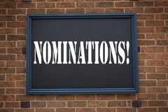 Conceptual hand writing text caption inspiration showing announcement Nominations. Business concept for  Election Nominate Nominat. Ion written on frame old Stock Photo