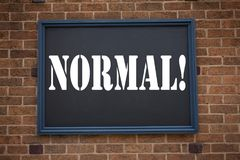Conceptual hand writing text caption inspiration showing announcement Normal. Business concept for  Confidence Abnormal Normality. Problem Issue written on Stock Photos